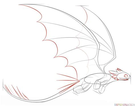 How to draw Toothless flying   Step by step Drawing