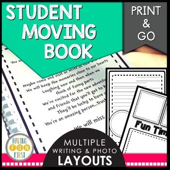 Student Moving Goodbye Book by Having Fun First | TpT