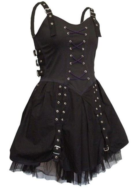 Gothic BLACK AND PURPLE BUCKLE CORSET Ruched Mini / Short