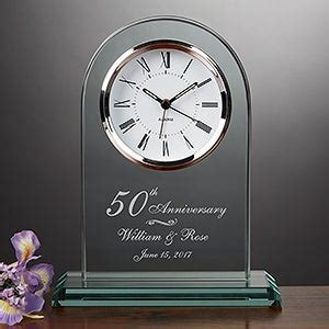 Engraved 50th Anniversary Beveled Glass Clock
