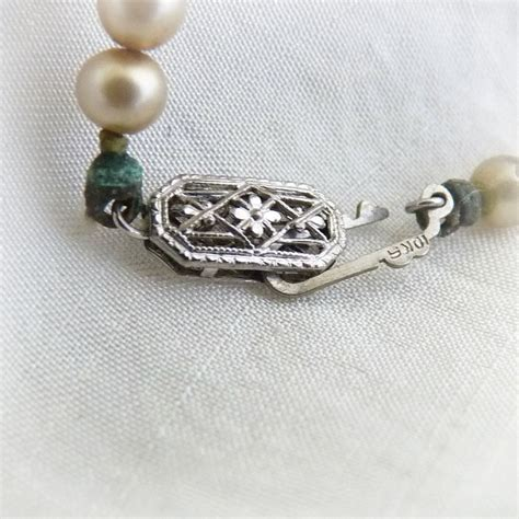 Vintage faux pearl necklace 10K white gold filigree clasp
