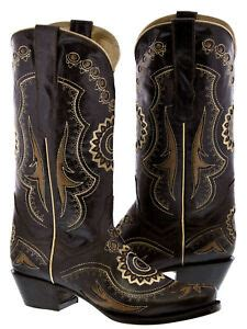 Womens Brown Western Cowboy Boots Inlay Leather Sunflower
