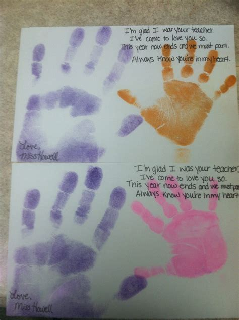 End of the school year craft handprint and poem